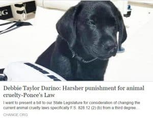 Harsher punishment for animal cruelty-Ponce's Law