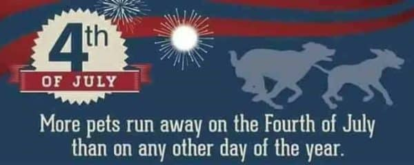 Please keep your pets safe this Holiday Weekend.