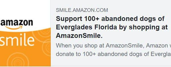 Now Through Nov 2, AmazonSmile is donating 5%